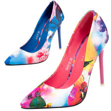 Wedding Court Shoes Floral Women Print High Heels Pumps Shoes Pointed Toe ZHQO5