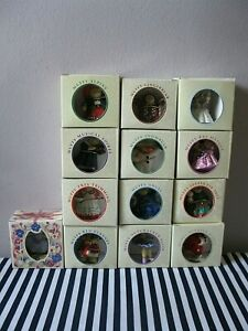 13 Vtg MUFFY VANDERBEAR Christmas Ornaments W/Original Boxes -- 10th ANNIVERSARY