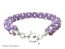 Lavender Lilac Purple & White Kumihimo Seed Bead Fashion Bracelet Gift For Her