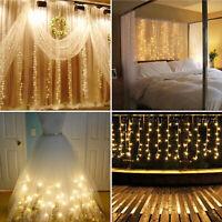3M 300 LED Wedding Curtain Lights String Fairy Light Window Icicle Party Decor