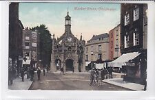 VINTAGE POSTCARD MARKET CROSS, CHICHESTER, SUSSEX. LIBRARY & HAIR DRESSER