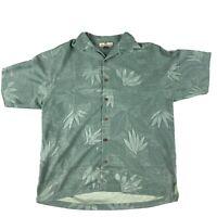 Tommy Bahama Silk Green Short Sleeve Hawaiian Shirt Leaves Print Size Medium