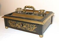 large antique ornate 1800's French Boulle wood brass writing dual inkwell stand