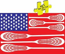 USA American Flag Lacrosse Stick Flag Decal Sticker