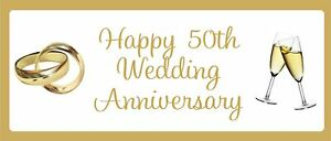 Golden 50th Anniversary Personalised Landscape Party Banner - Add Your Message