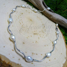 Genuine Pearl Station Stainless Steel Wavy Necklace