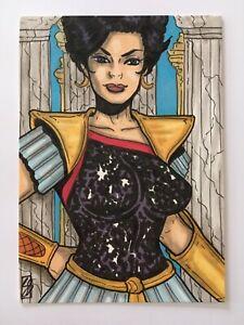ACEO DC COMICS 1/1 Original TROIA DONNA TROY SKETCH CARD by Sean Stannard TITANS