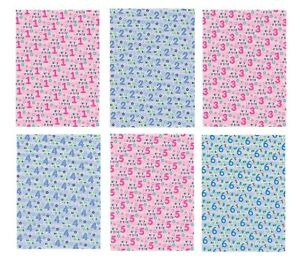 2 Sheets Birthday Wrapping Paper Wrap Boy Girl Ages 1 2 3 4 5 6 Blue Pink (PA)