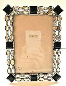 """2012 Clear & Black Rhinestones Silver Colored Metal Picture Frame 4"""" x 6"""" Photo"""