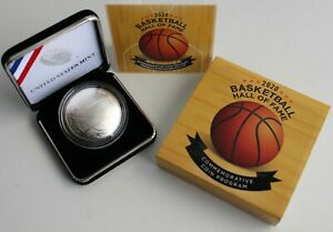 2020 P Basketball Hall of Fame Uncirculated Silver Dollar Curved Coin Box + COA