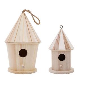 Wooden Bird House Birdhouse Hanging Nest Nesting Box Hook Home Garden Decor Q