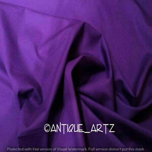 3 Yard Purple Handmade Traditional Solid Plain 100% Cotton Running Loose Fabric