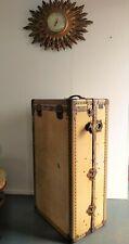 WATAJOY of LONDON - Edwardian Fitted Travel Trunk/Wardrobe, in Vellum with KEY