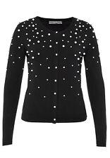 ♥NEU HALLHUBER Luxus Cardigan Coco Schwarz Perlen Strickjacke XS 34 Office Chic