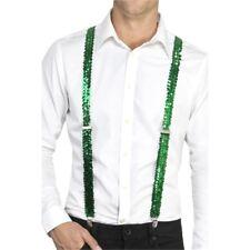 Sequin Braces - Fancy Dress Accessory Adults Suspenders Costume Green Mens