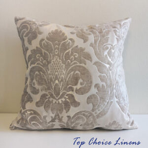 QUALITY 45x 45cm Home Decor Chenille Texture Damask Jacquard Cushion Cover-Taupe