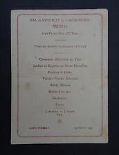 MENU PALAIS D'ORSAY 24 février 1927 BAL DU SYNDICAT DE LA BOUCHERIE