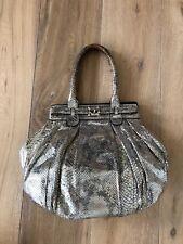 Zagliani Metallic Silver Python Snake Handbag Bag