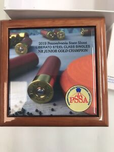 Man Cave Trophy Decor PSSA Trapshooting Gold Champion Wood Box D12-9