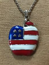 """PATRIOTIC APPLE And SILVERTONE 18"""" NECKLACE- NEW-MUST SEE !!!"""