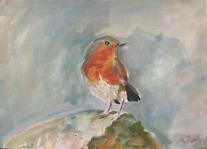 Print of Original oil painting art Robin bird Impressionism shabby chic decor