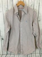 SOUTHERN TIDE Long Sleeve Plaid Button Front Shirt White Pink Green Men's Size M