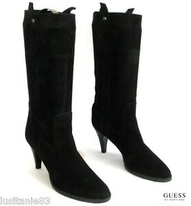 Guess - Boots Heels 8 CM mid Calf all Leather Black Velvet 40 - Mint