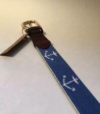FOXCHASE RUN HANDMADE NEEDLEPOINT BELT NAUTICAL ANCHOR STITCHED ROYAL BLUE 40