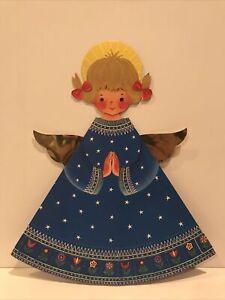 "Vintage Levision Advent Calendar Angel Denmark Christmas 15.75"" Halo Midcentury"