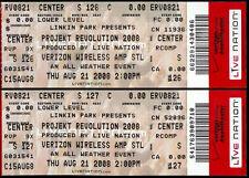 Linkin Park Tickets 2 Rare Unused Projekt Revolution Aug 21 2008 Saint Louis MO