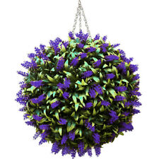 Artificial Purple Lavender Hanging Topiary Ball Flower Plant Decor Basket Pot