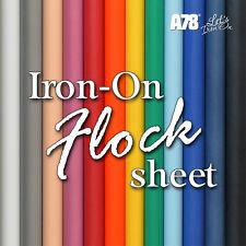 Iron-on Flock Velvet Vinyl sheet 20cm x 25cm Fabric Craft Art Transfer Hot-Fix