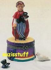 MAGICIAN in RED CAPE, TOP HAT & CANE-Porcelain Hinged-Box-2 TRINKETS-GREAT JOB!