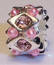 Pink Rhinestone Pearl October Birthstone Bead for Silver European Charm Bracelet