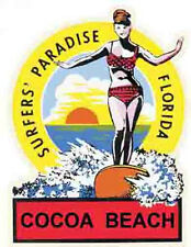 Cocoa Beach/Canaveral Florida   Surfing  Vintage-Style Travel  Decal
