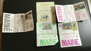 U.S. Maine Hunting Licenses with Duck Stamps lot of 5 Used