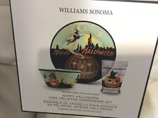 Williams Sonoma Vintage Happy Halloween Kid's Melamine Dinner ware Set NIB