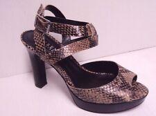 """Ralph Lauren Women Saydee Leather Python Printed 4.5"""" High Heel Sandals 8.5"""