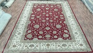 3'x5'| 4'x6'| 5'6x8'|6'6x9'6| 8'x10' Rug | Hand Knotted Wool-Silk Red-Ivory Area