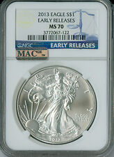 2013 SILVER BLUE LABEL EAGLE NGC MAC MS70 E.R. FINEST GRADE MAC SPOTLESS .