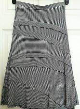 INC*Soft-Knit A-Line MIDI SKIRT*Asymmetrical Tiers*Ruffles*Black/Whte*M*Waist 28