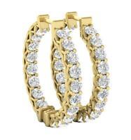 Hoop Earrings SI1 G Round 1.50 Ct Diamond 14K White Yellow Rose Gold 0.72 Inch