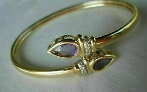2 Ct Pear Cut Amethyst & Diamond Bypass Bangle Bracelet 14K Yellow Gold Finish