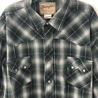 Wrangler Western Snap Button Flannel Plaid Shirt Mens Long Sleeve Size 3XL Big