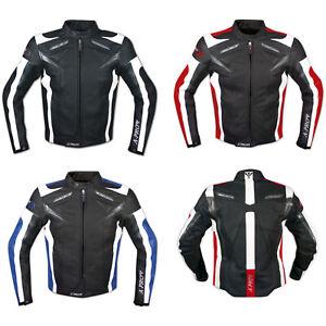 Moto Giacca Pelle Motociclismo Sport Gilet Estraibile Protezioni CE Traspirante