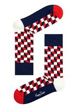 Happy Socks Red Blue White Filled Optics Pattern Size 7 - 11 UK Mens Unisex Sock