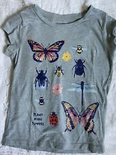 Gymboree Insect Bug Butterfly Beetle Bee Plant More Flowers T Shirt 4 4T Xs