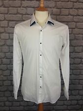 LAGERFELD MENS UK S 40 / 102 WHITE AND BLUE DOUBLE COLLARED  SHIRT RRP £109