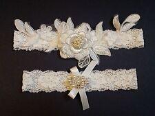 Wedding Garter Set - OFF WHITE lace flower IVORY Satin Bow Garter Set