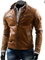 Stylish Handmade Men's Brown Leather Fashionable Biker Jacket,Men Fashion Jacket